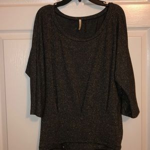 Dark grey, bronze threaded cotton blouse
